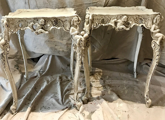 Italian Carved Wood Tables -sold as a pair