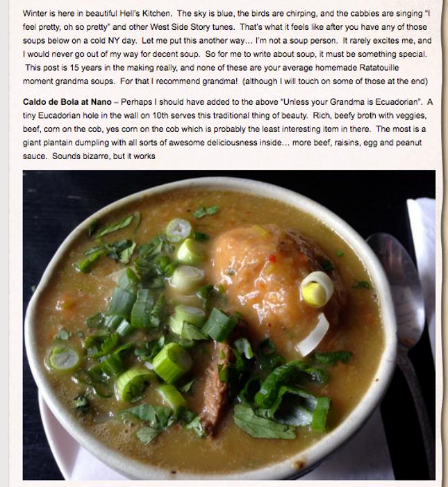 A screenshot of Ziggy, a hell's kitchen best of soups review.