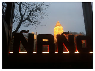 Restaurant Signage with led lighting with midtown skyline in the background.