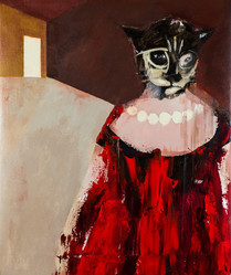 Suzan Swale (b.1946) 'Cat Mother' 2018, acrylic on canvas, 60 x 50 cm