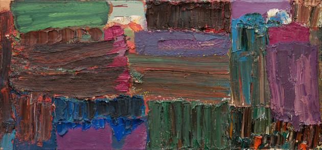 Alan Gouk (1939) 'Quercus' 1981, 71 x 152 cm, oil on flax