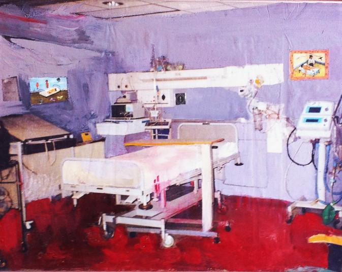 Suzan Swale (b.1946) 'A Few Little Cuts' 2001, acrylic on canvas, 38 x 48 cm