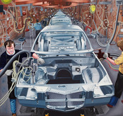 David Redfern (b.1947) 'Car Factory' 1976, oil on canvas, 46 x 49 cm  Contact for Price