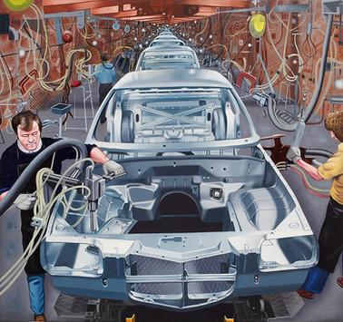 David Redfern (b.1947) 'Car Factory' 1976, oil on canvas, 46 x 49 cm