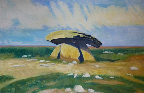 David Shutt (b.1945) 'Chun Quoit Against the Atlantic' oil on canvas, 94 x 145cm