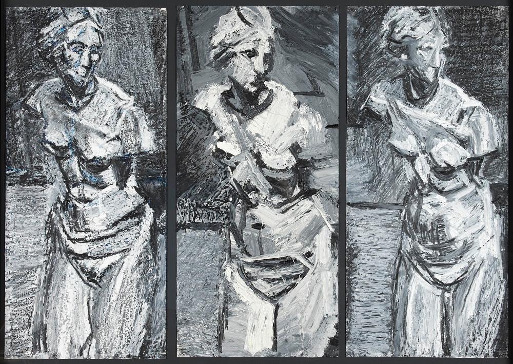 Peter Clossick (b.1948) 'Venus de'Medici Triptych' 2017 oil pastel & paint on paper, 118 x 86cm