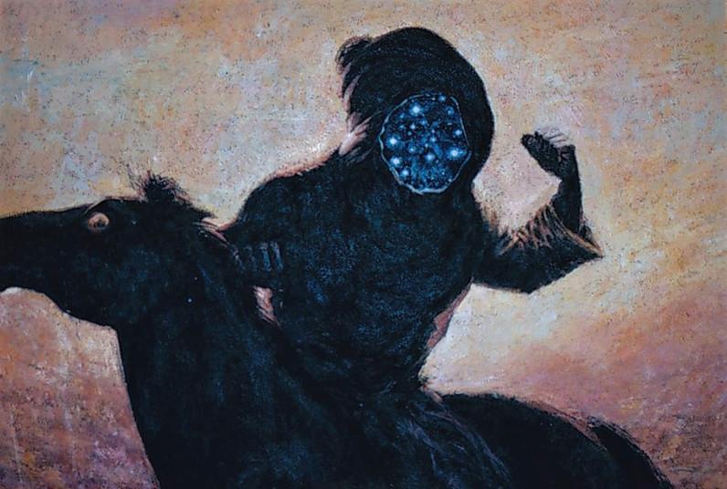 Tam Joseph (b.1947) 'Ear To The Ground I Heard Tomorrow Pass By', 85 x 120 cm