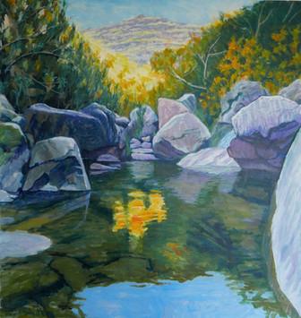 David Shutt (b.1945) 'A Pool of Light' oil on canvas, 100 x 95cm
