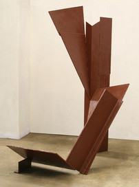 Katherine Gili (b.1948) 'Vertical IV' 1975, H 223 x 160 x 114 cm, mild steel, zinc sprayed and painted