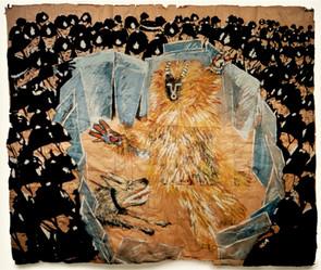 Tam Joseph (b.1947) 'Spirit of the Carnival' 1982, acrylic on paper, 200 x 200 cm  Wolverhampton Art Gallery
