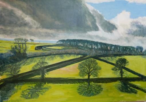 David Shutt (b.1945) 'Triangular Field' oil on canvas, 80 x 100cm
