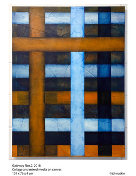 John Atkin (b.1959) 'Gateway no 2', collage and mixed media on canvas, 101 x 76 x 4 cm