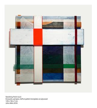 John Atkin (b.1959) 'Vanishing Point no 6', Encaustic, perspex, mdf on pattern templates on plywood, 129 x 136 x 7 cm