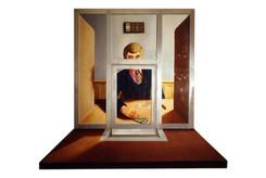 David Redfern (b.1947) 'A Bank Clerk' 1972, oil on canvas, 95 x 81 cm  Sainsbury Centre for Visual Arts