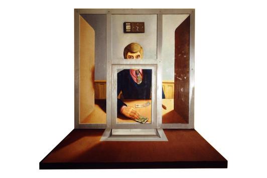 David Redfern (b.1947) 'A Bank Clerk' 1972, oil on canvas, 95 x 81 cm