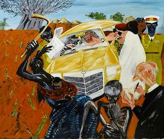 Tam Joseph (b.1947) 'Monkey dey Chop, Baboon dey Cry' 1984, acrylic on canvas, 155 x 225 cm
