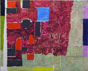 James Faure Walker (b.1948) 'Red, Redone' 1988, oil on canvas, 91 x 114 cm  Contact for Price