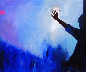 Suzan Swale (b.1946) 'Black Mirror' 2015, acrylic on canvas, 50 x 60 cm