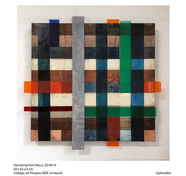 John Atkin (b.1959) 'Vanishing Point no 2', collage, oil, perspex, MDF, on board, 60 x 62 x 4 cm