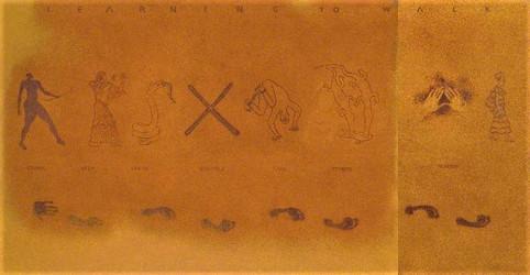 Tam Joseph (b.1947) 'Learning to Walk' 1988, sand, acrylic & pigment on canvas, 201 x 386 cm