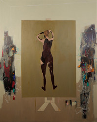 Suzan Swale (b.1946) 'The Empress's New Clothes' 2019, acrylic on canvas, 150 x 120 cm  Contact for Price