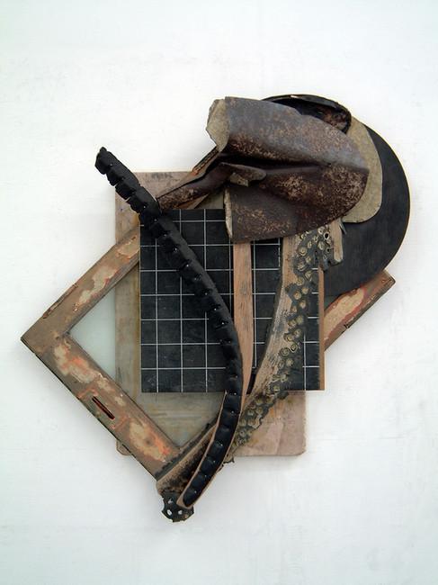 '0006305775', 2003, 90 x 84 x 20 cm, found object assemblage