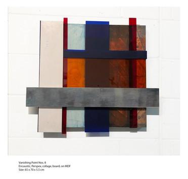 John Atkin (b.1959) 'Vanishing Point no 8', Encaustic, perspex, collage, board, on MDF, 65 x 70 x 5.5 cm