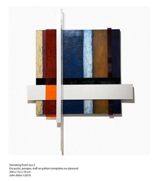 John Atkin (b.1959) 'Vanishing Point no 3' Encaustic, perspex, mdf on pattern templates on plywood, 200 x 152 x 10 cm