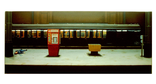 David Redfern (b.1947) 'Incident at Charing Cross' 1978, oil on canvas, 68 x 160 cm