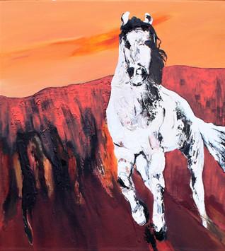 Richard Harrison (b.1954) 'To Ride A White Horse' 2019, 101 x 99 cm