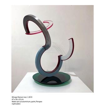 John Atkin (b.1959) 'Mirage Dancer no 1', 2019, water-jet cut aluminium, paint, perspex, 47 x 26 x 32 cm