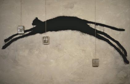 Tam Joseph (b.1947) 'Timespan' 1985, acrylic medium, string, sand, photographs, powder paint, 110 x 200 cm
