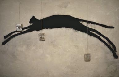 Tam Joseph (b.1947) 'Timespan' 1985, acrylic medium, string, sand, photographs, powder paint, 110 x 200 cm  Glasgow Museums Resource Centre