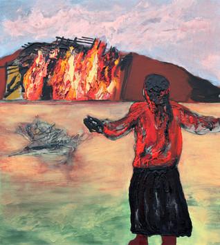 Richard Harrison (b.1954) 'Up In Flames' 2019, 101 x 91 cm