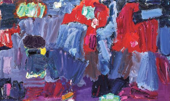 Alan Gouk (1939) 'Gaucin Night II' 1992, 172 x 295 cm, oil on flax