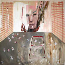 Suzan Swale (b.1946) 'Self Portrait With Red Chair' 2011, acrylic on canvas, 150 x 150 cm  Contact for Price
