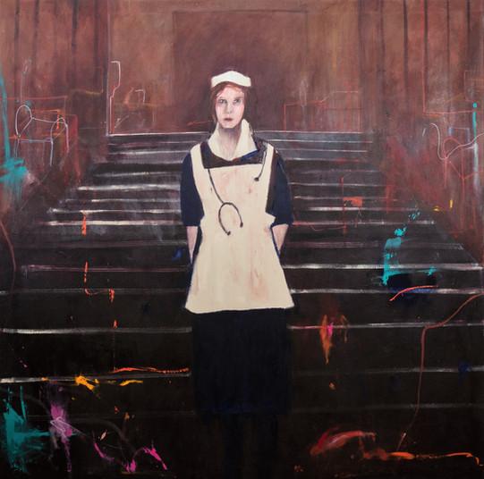 Suzan Swale (b.1946) 'The Night Nurse' 2019, acrylic on canvas, 152 x 152 cm