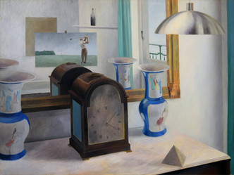 James Faure Walker (b.1948) 'Studio Still Life, Golf' 1971, oil on board, 52 x 69 cm  Contact for Price