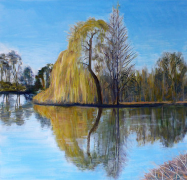 David Shutt (b.1945) 'Cookham Willow, Early Spring' oil on canvas, 100 x 105cm