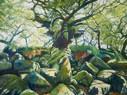 David Shutt (b.1945) 'Oaks, Ferns and Feldspar' oil on canvas, 122 x 164 cm