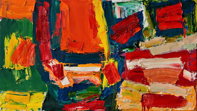 Alan Gouk (1939) 'Death of a Salesman' 2017, oil on canvas, 92 x 163 cm