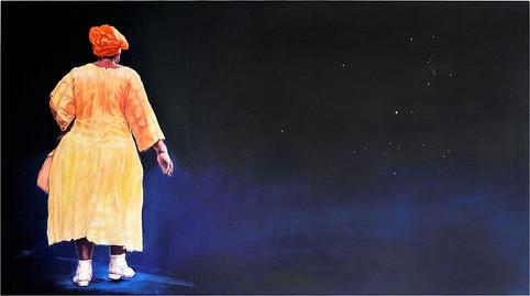 Tam Joseph (b.1947) 'Walking The Dog', 102 x 154 cm