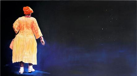 Tam Joseph (b.1947) 'Walking The Dog', 102 x 154 cm  Contact for Price