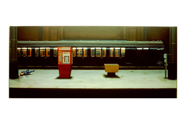 David Redfern (b.1947) 'Incident at Charing Cross' 1978, 68 x 160cm, oil on canvas