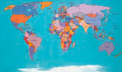 Tam Joseph (b.1947) 'The Hand Made Map of the World' 2013, acrylic on board, 71 x 121 cm  Ben Uri Gallery & Museum
