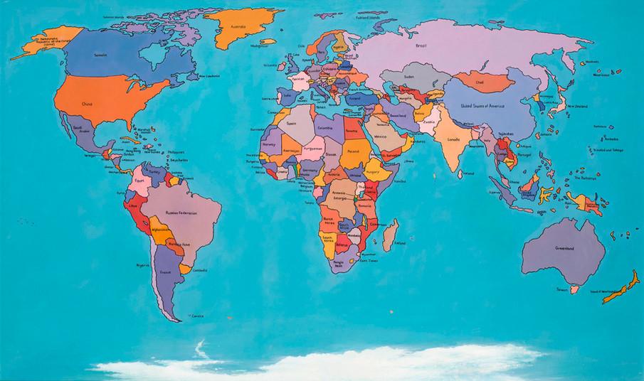 Tam Joseph (b.1947) 'The Hand Made Map of the World' 2013, acrylic on board, 71 x 121 cm