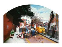 David Redfern (b.1947) 'Work' 1977, oil on canvas, 87 x 122 cm  Southampton City Art Gallery