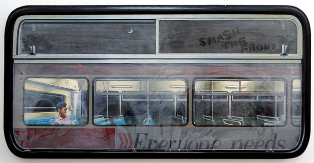 David Redfern (b.1947) 'Smash the Front' 1978, oil on perspex on canvas, 59 x 119 cm