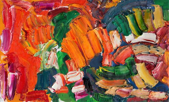 Alan Gouk (1939) 'Mustard Spoon Spin-Off' 2017, oil on canvas, 56 x 92 cm