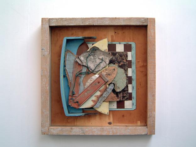 'Ahnest du den Schopfer, Welt?', 1996, 72 x 72 x 10 cm, found object assemblage